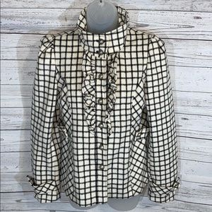 Black & Cream Short Checked Ruffle Jacket Coat